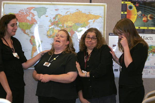 We all mourn Pluto. (left to right: Abigail, Michelle, Abby's mom, and me)