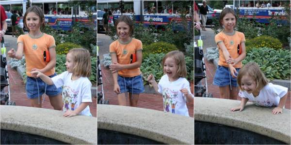 Tossing coins into the fountain