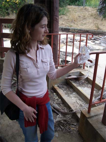 Janice with a piece of glass - this is before they used acrylic.