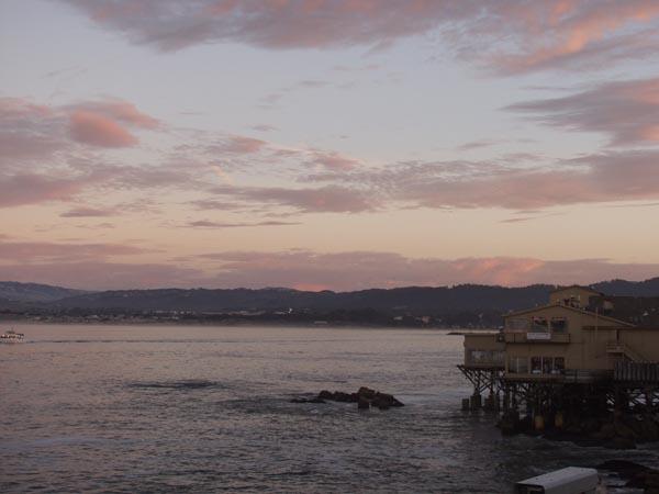 Monterey Bay at sunset.