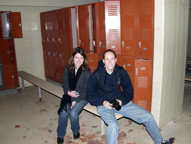 Janice and Kirsten in the Marineland men's locker room. (2005)