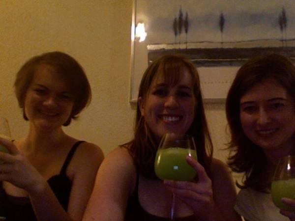 Wawwen-san, Kimiagi, and Janicita celebrating Janice's bday with yummy green stuff! (2007)