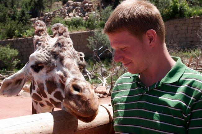 Adam with a giraffe